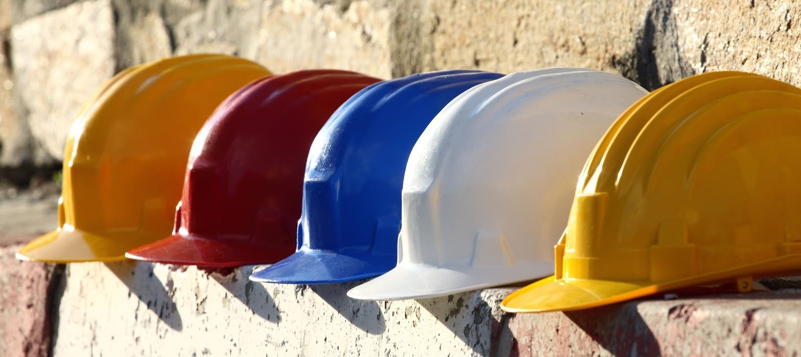hard hats in a row
